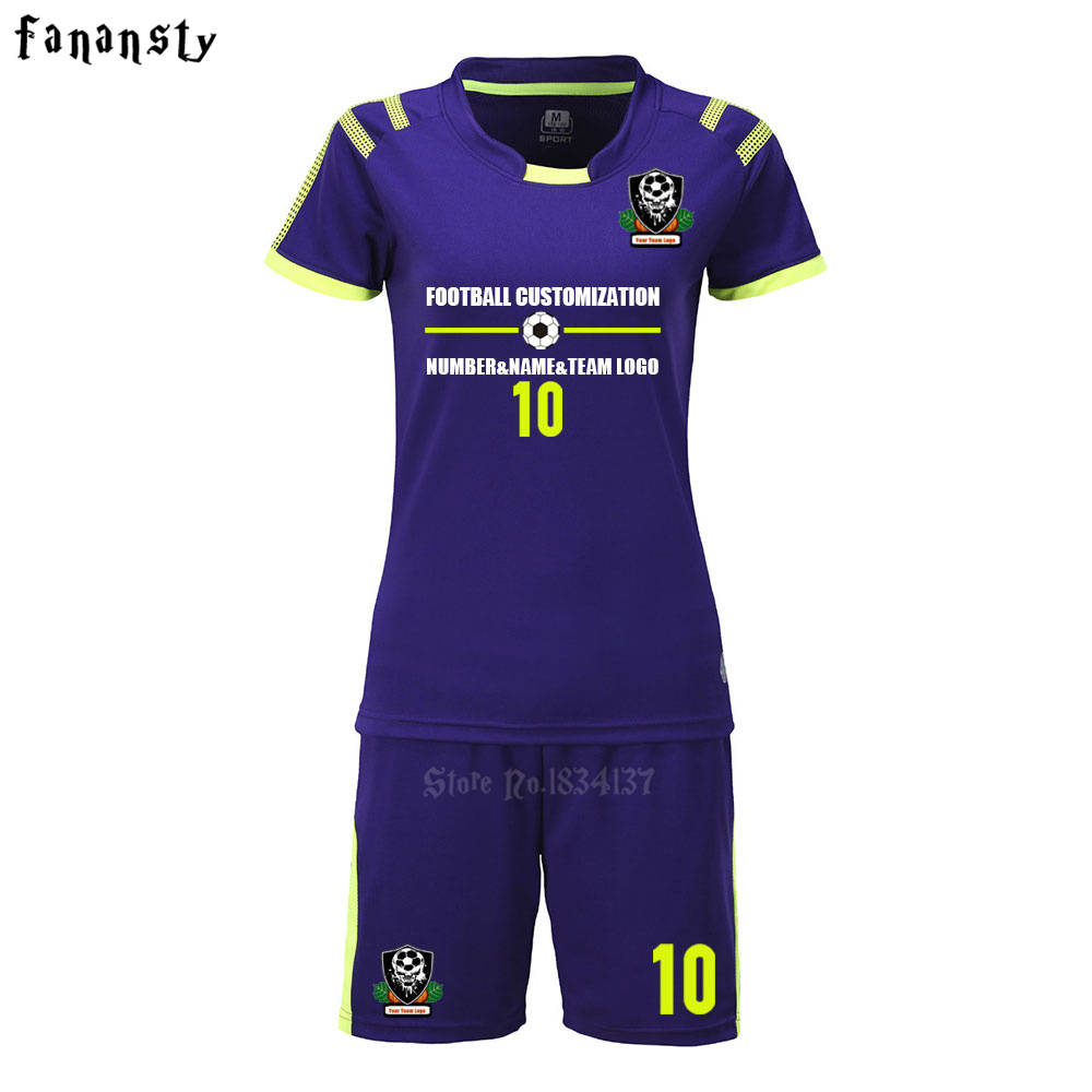 Women soccer jerseys short sleeve survetement football kits girl soccer sets uniforms camisetas de futbol 2017/2018