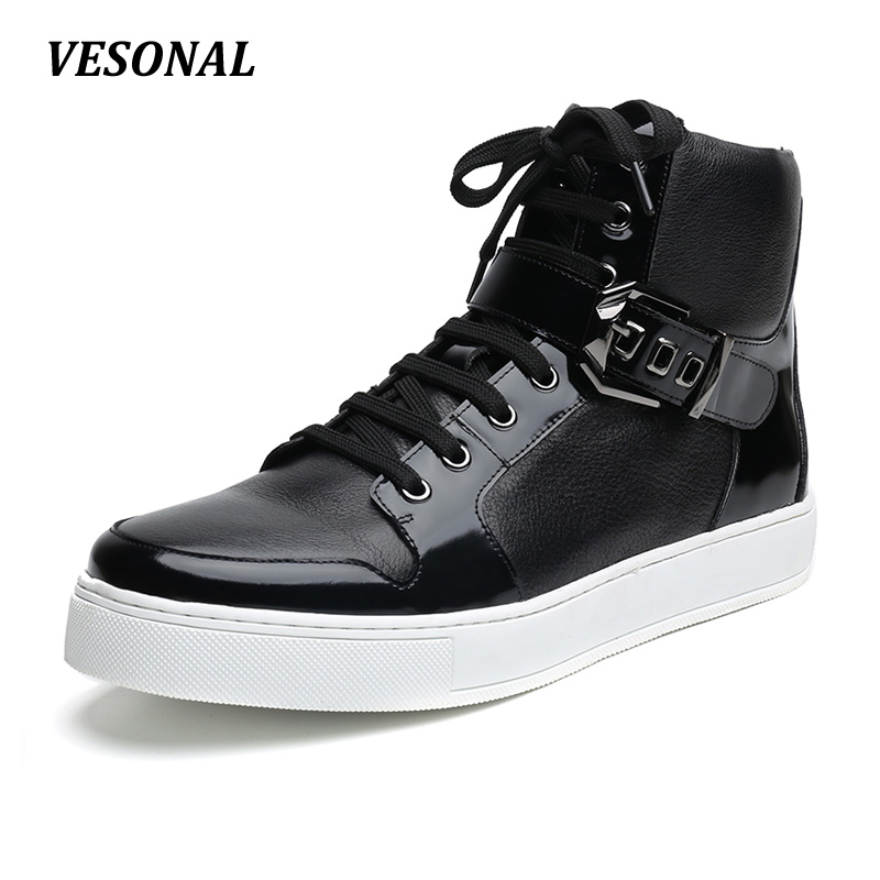 VESONAL Autumn Winter Mens Ankle Boot 100% Luxury Genuine Cow Leather Fashion Side Zip Buckle Casual Western Boots Men Shoes men suede genuine leather boots men vintage ankle boot shoes lace up casual spring autumn mens shoes 2017 new fashion