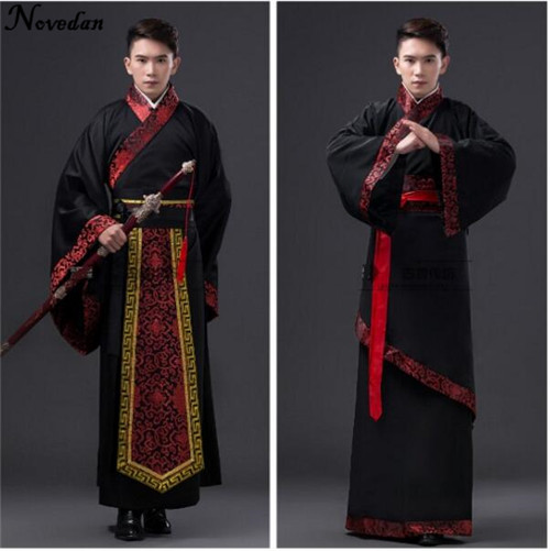 Chinese National Hanfu Black Ancient China Costume Hanfu Men Clothing Traditional National Tang Suit Stage Costumes