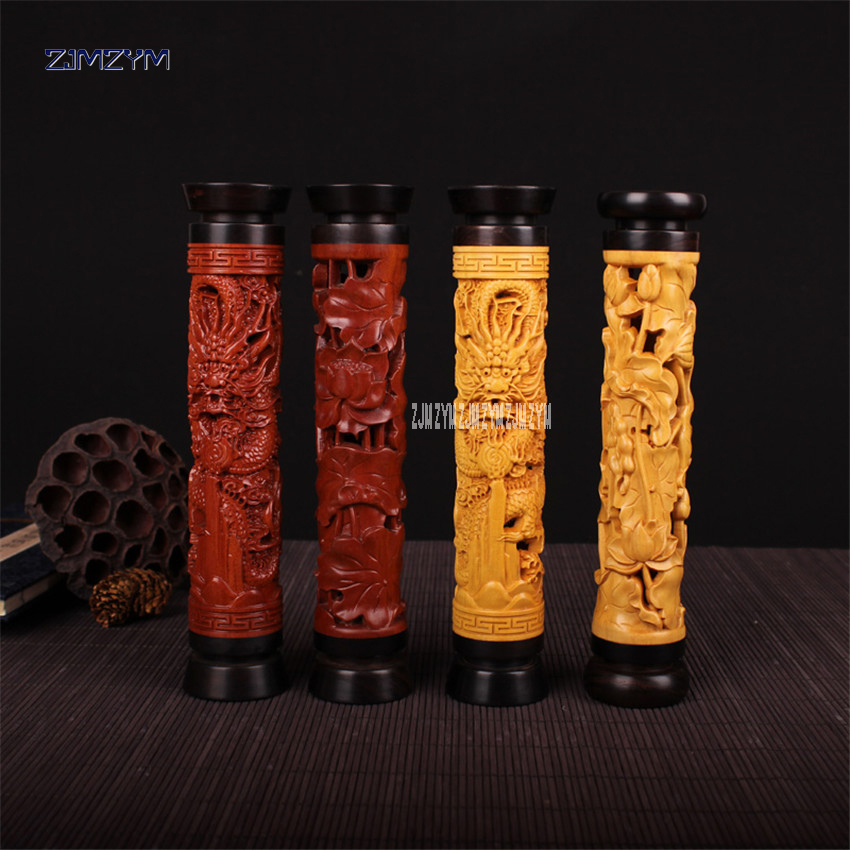 Ebony vertical boxwood censer Lotus /dragon hollow incense incense round incense wood incense box incense inserted 21*4.5cm
