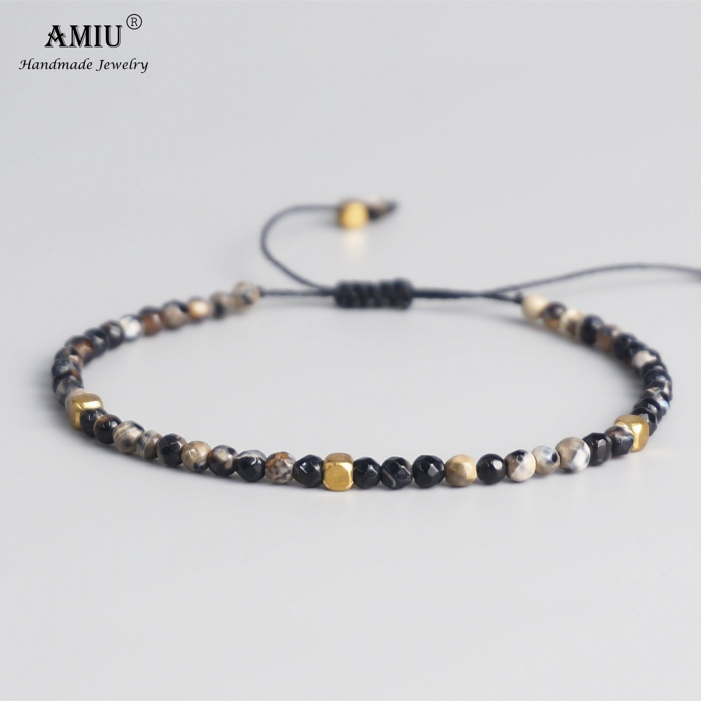 AMIU 3mm Natural Stone Beads Tibetan Stone Beads Stretch Bracelet For Men Women Yoga Chakra Crystal Bead Bracelets(China)