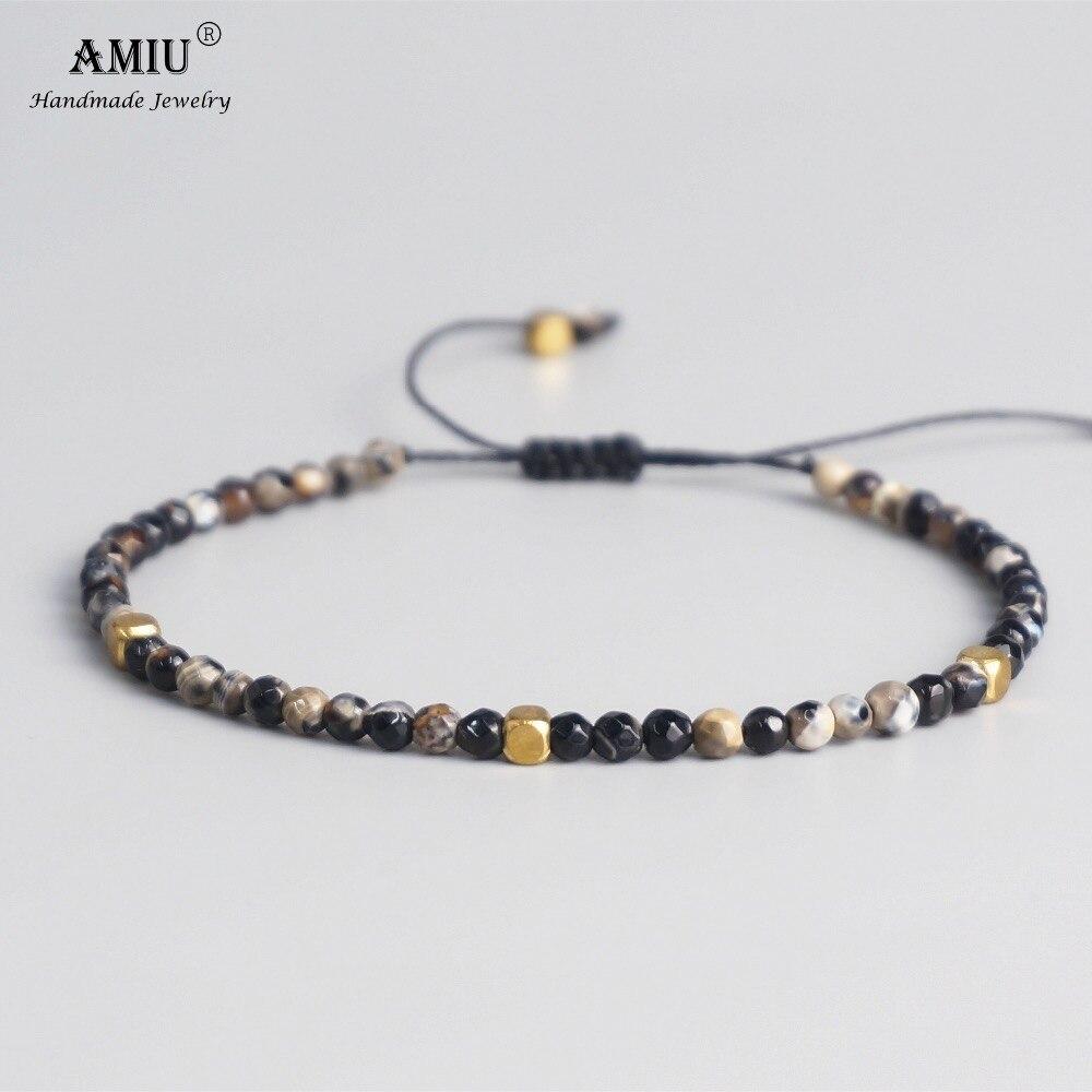 AMIU 3mm perles de pierre naturelle tibétain perles de pierre Bracelet extensible pour hommes femmes Yoga Chakra Bracelets de perles de cristal