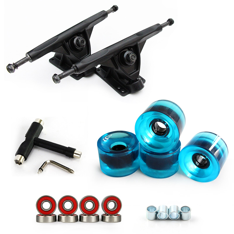 1Pair 7 Longboard Truck Wheels Set 4pcs PU wheels 8pcs Bearing T skateboard tool Skateboard Truck