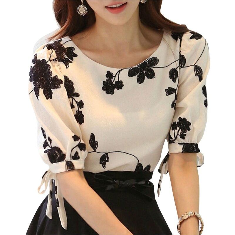 Influence Floral Embroidered Side Slit Shirt Online shopping 1