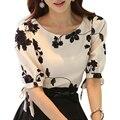 Женщины Рубашка Летний Топ Цветочные Черный Вышитый Белый Тонкий Шифон Блузка Повседневная Плюс Размер Лук Половину Рукав Рубашки Женщины Clothing