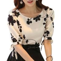 Bordado Camisa Mulheres Tops de Verão Floral Preto White Slim Chiffon Blusa Marca Qualidade Plus Size Casuais Arco Meia Camisa de Manga
