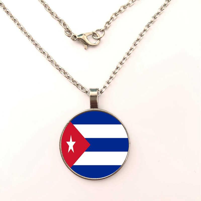GDRGYB 2019 Kuba/Guyana Flagge Kunst Foto Männer Auto halskette Schmuck Charme Glas halskette frauen Die halskette
