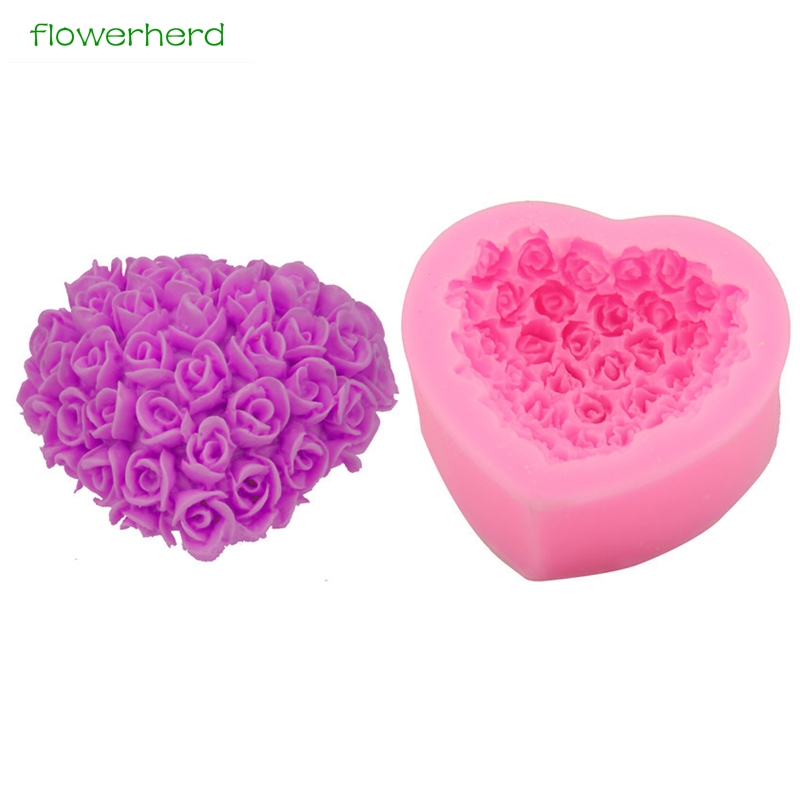 Love Heart Pink Rose Flower Soap Silicone Mold Wedding Party 3D Handmade Resin Craft Chocolate Candy Mold Cake Baking Tools