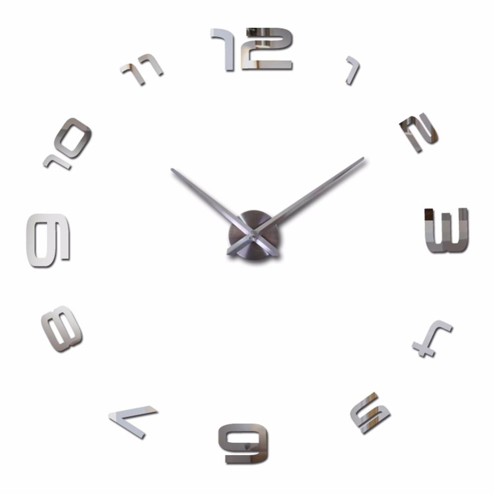 2017 New Arrivals Wall Clocks Creative Modern Stickers Unique Big DIY 3D Digital Mirror Art