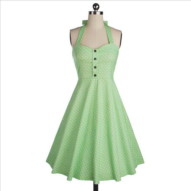 Womens Summer Style Pleated Dress Retro Vintage 50s Polka Dot Casual Party Robe Rockabilly Dresses Vestidos Femininos