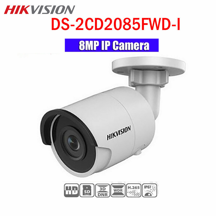 Hikvision CCTV POE IP 8MP Camera DS-2CD2085FWD-I 30m IR WDR ONVIF H.265 IP67 Night Version Bullet Outdoor Camera hikvision ds 2de7230iw ae english version 2mp 1080p ip camera ptz camera 4 3mm 129mm 30x zoom support ezviz ip66 outdoor poe