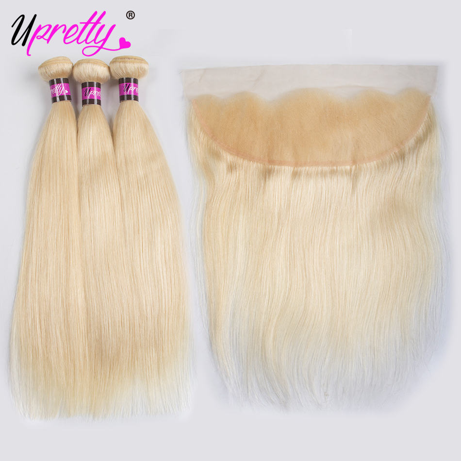 Upretty Hair Extensions Straight 613 Blonde Bundles with Frontal Remy Brazilian Human Hair 3 Bundles With 13*4 Lace Frontal