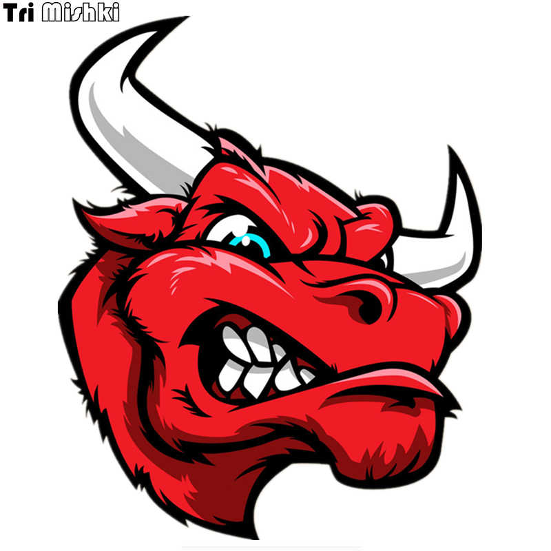 Tri Mishki WCS107 16*13cm angry bull head red car sticker funny colorful car stickers auto automobile decals