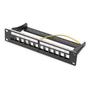 Image 1 - Panneau de raccordement blanc 12ports, adapté aux modules keystone cat.5e/cat.6, support de 10 pouces Barre de Support pour la gestion des câbles