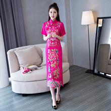 New Red Cheongsam Long Qipao Dress Traditional Chinese Dresses Robe Longue Chinoise Oriental Collars Retro Dressing Gown