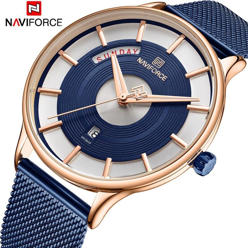 NAVIFORCE New Men Watch Mens Watches Top Brand Luxury Quartz Clock Male Sport Steel Mesh belt Wrist Watch relogio masculino 2019-in Quartz Watches from Watches