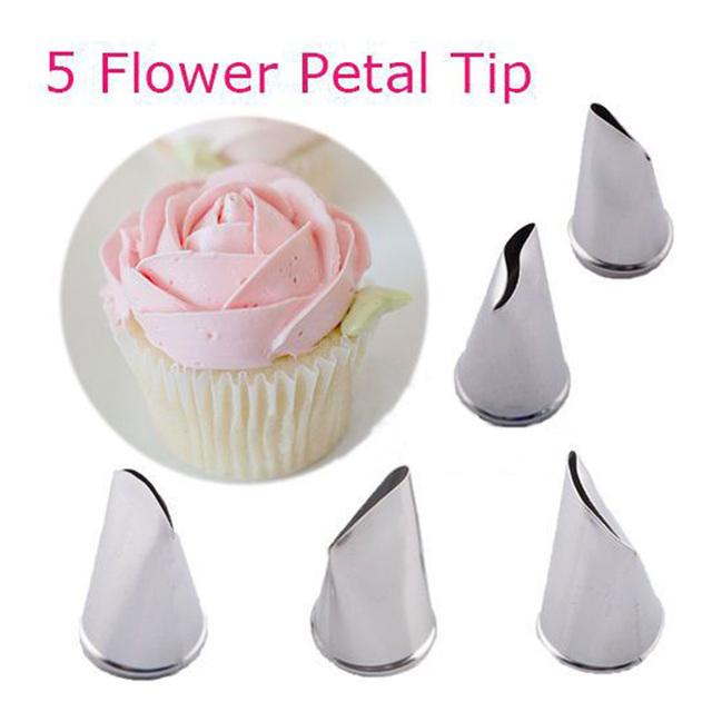 New 5 pcs Rose Petal Metal Cream Tips Cake Decorating Tools Steel Icing Piping Nozzles Cake Cream Decorating Cupcake Pastry Tool