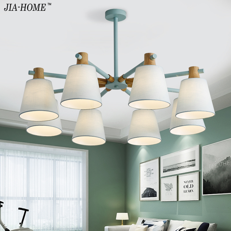 New Arrival LED Chandeliers For Living Room Bedroom colors lampshade Nordic Style Hanging Lights Para Sala