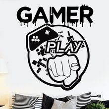 Gamer Love Wall Decal Game Play Controller Sticker Kids Bedroom Vinyl Art Decals Removable Games Murals AY1212