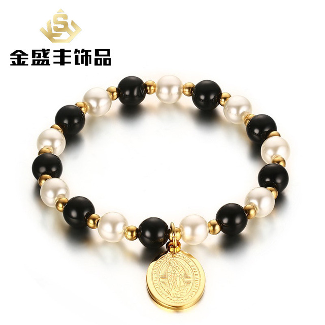 High Grade Brand 8mm Pearl Stainless Steel Bracelet Notre Dame Tags Gift For Woman Small