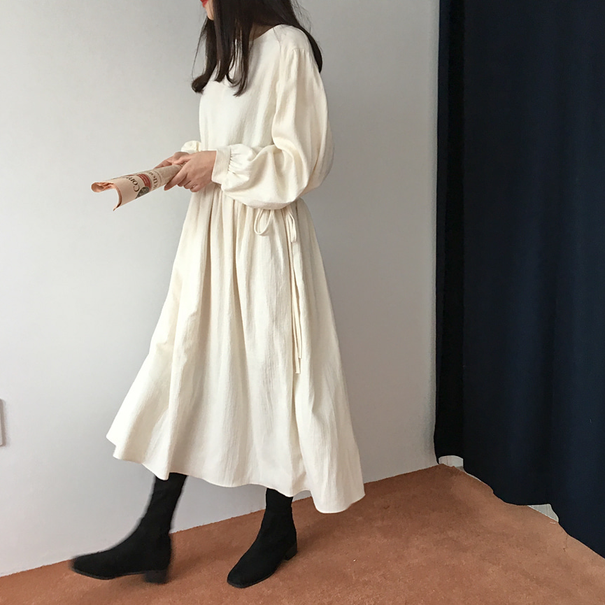 Dress Women Vintage Long Sleeve O Neck Elastic Waist Casual Pleated Long  Winter Dress Elbise Plus b0c84f15fd78