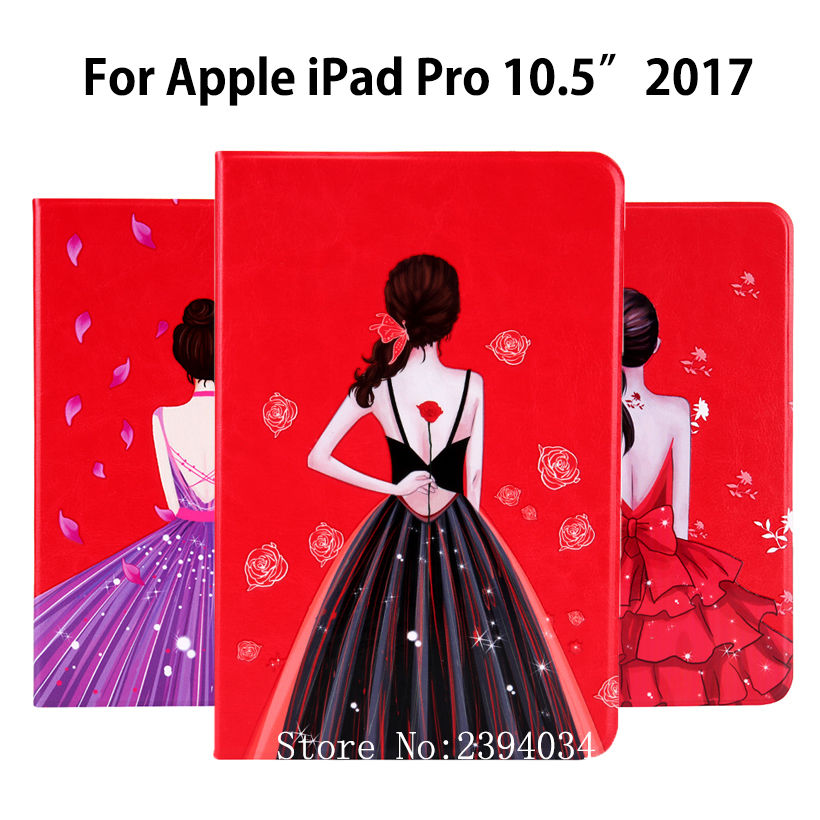 High quality Fashion Girls Painted Case For Apple iPad pro 10.5'' 2017 A1701 Smart Cover Funda PU Leather Sleep Wake Stand Shell for ipad mini4 cover high quality soft tpu rubber back case for ipad mini 4 silicone back cover semi transparent case shell skin