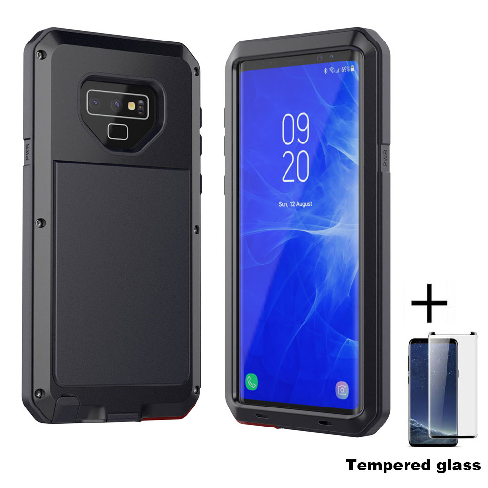 Película de vidrio + Nota 9 caso de Shock prueba de caja de Metal de aluminio para SAMSUNG GALAXY Note 9 SN91