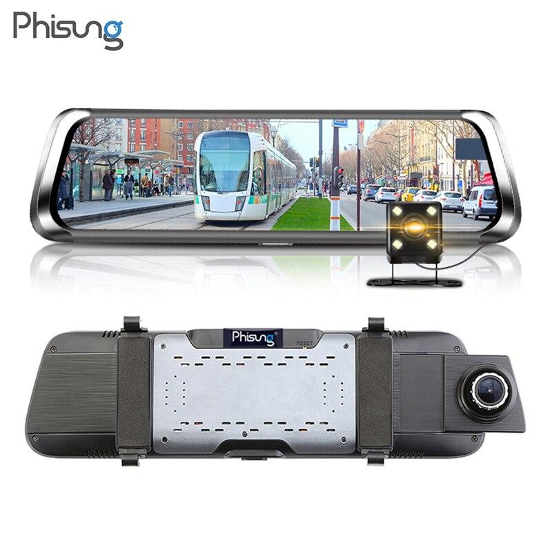 Phisung E08 10 IPS Bluetooth WiFi 4g Android Voiture DVR Caméra 1080 p FHD Rétroviseur ADAS enregistreur vidéo Registrator Dash Cam