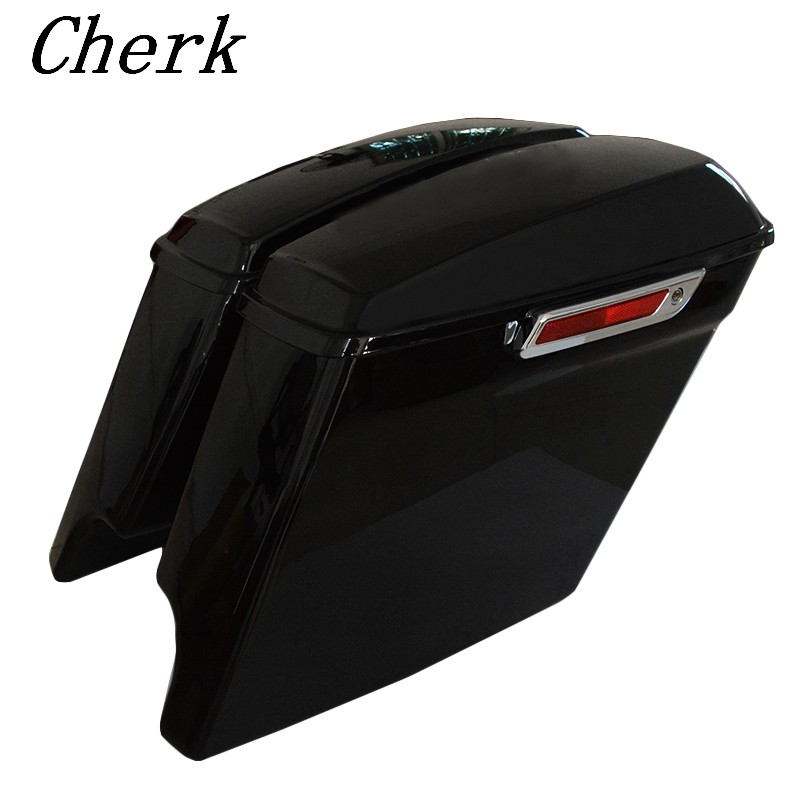 Motorcycle Bright Black 5 Extended Stretched Saddlebags W/ Keys Fit Harley Touring Road King Street Glide FLHT 2014-2017 16 15 the black keys the black keys el camino 2 lp