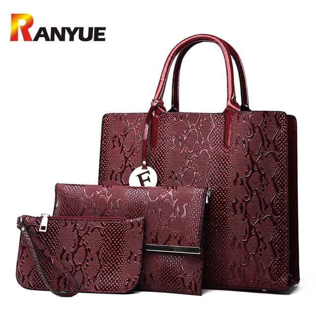 RANYUE Serpentine Women Leather Handbags Luxury Snake Women Shoulder Bag  2018 Spring Ladies Hand Bags Casual Tote Bag Sac A Main fb01630fd2f8a