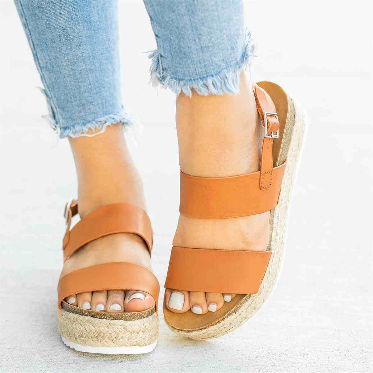 Cuero Zapatos Prendas Mujeres Grueso De Mujer Con Las Sandalias Verano Plataforma Nuevo Cuñas Para Tacones 2019 QthrdCs