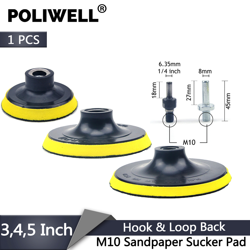 POLIWELL 3 4 5 Inch M10 Thread Self-adhesion Sanding Pads Hook & Loop Sandpaper Sucker Pad Auto Car Grinding Abrasive Tool Parts