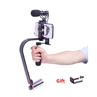 DSLR camera steadicam 5D2 Video Smartphone Mobile Stabilizer steadycam with Led Light Microphone option for Nikon Canon Iphone