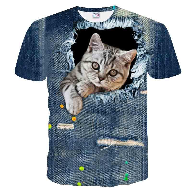 BIANYILONG 2018   t     shirt   men Summer tops tees   t  -  shirt   funny Cowboy hole cat print 3d   t     shirt   animals fashion short sleeve tshirts