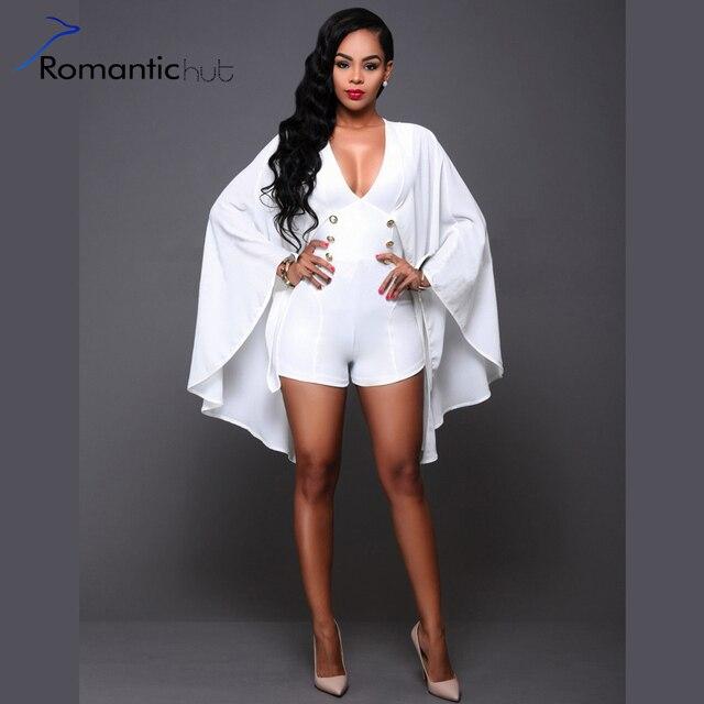 b3360255ba26 Romantichut 2017 Rompers Womens Jumpsuit White black Overalls Bodysuit  V-neck Sexy Bat Sleeve