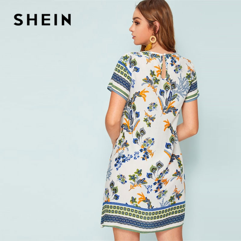 Shein Mixed Print Keyhole Back Tunic Summer Dress Women's Shein Collection