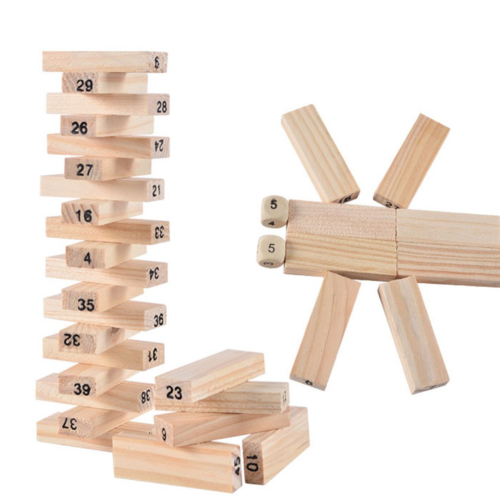 54 Pieces Of Raw Wood Digital Children's Layered Building Blocks
