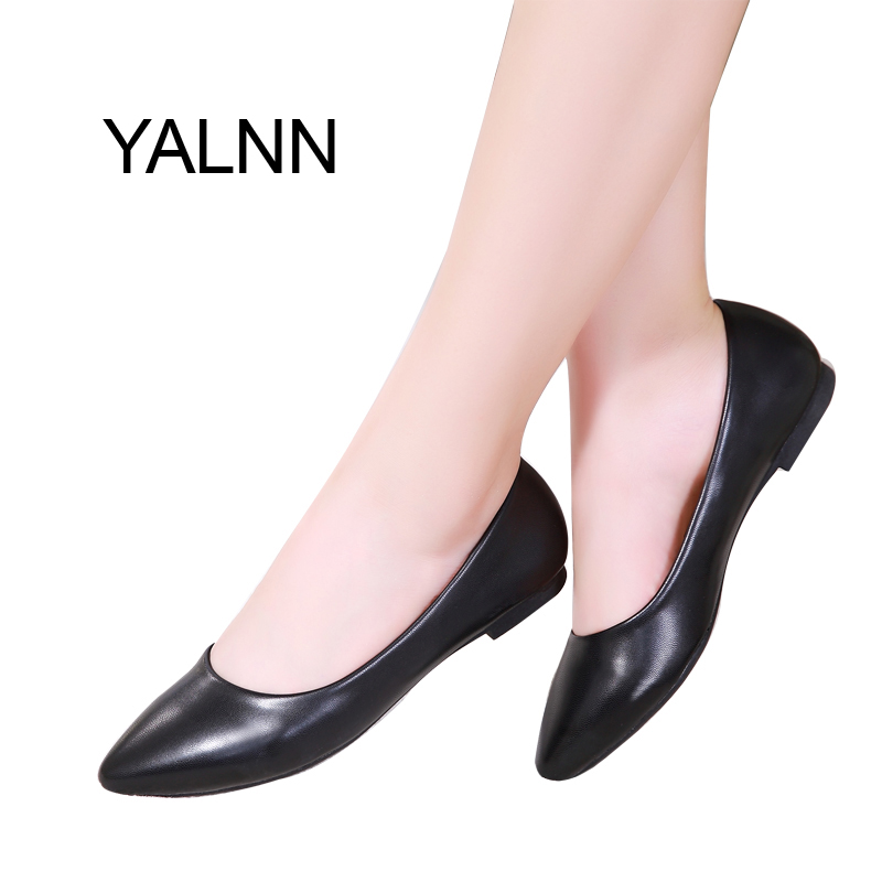 YALNN Women Shoes New Leather Platform Heels Shoes White Women Pointed Toe Leather Shoes for Girls