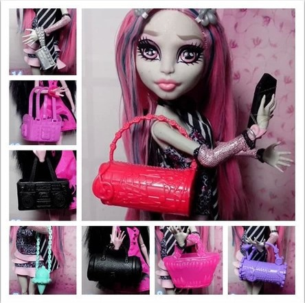 Free transport,2014 New Arrival 8pcs Trend Bag/Purse Equipment For Barbie Doll,Monster Excessive Doll