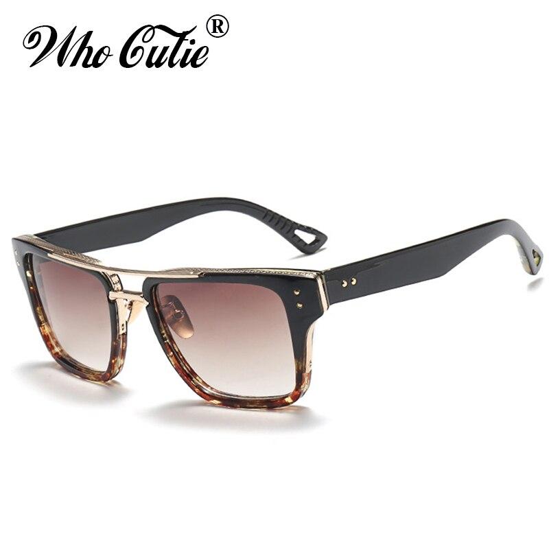WHO CUTIE 2017 Vintage Square Sunglasses Men Women Brand Designer Retro Frame Male Female Clear Lens Sun Glasses Shades OM416