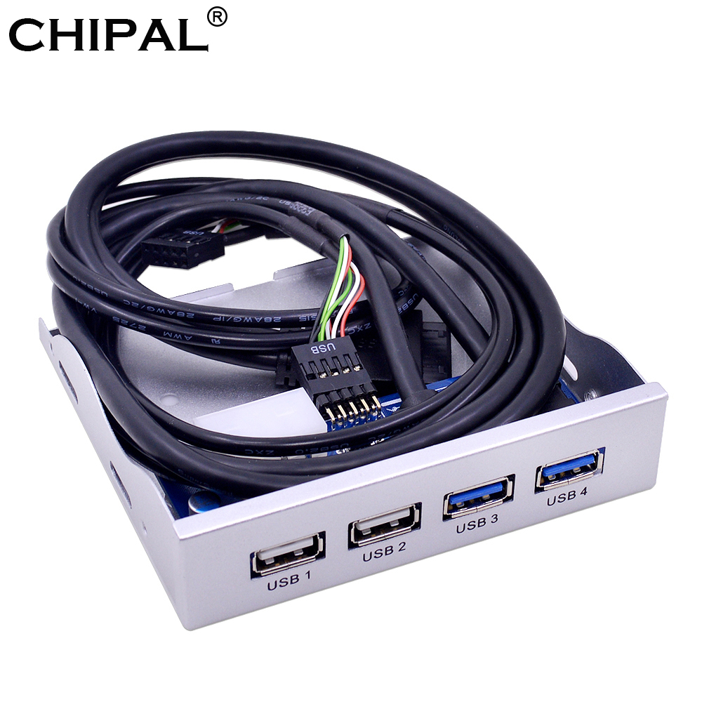 Chipal Silver 4 Ports Usb 20 30 Front Panel Hub 20pin Splitter Wiring Internal Combo Bracket Adapter For Desktop 35 Floppy Bay In Hubs From Computer