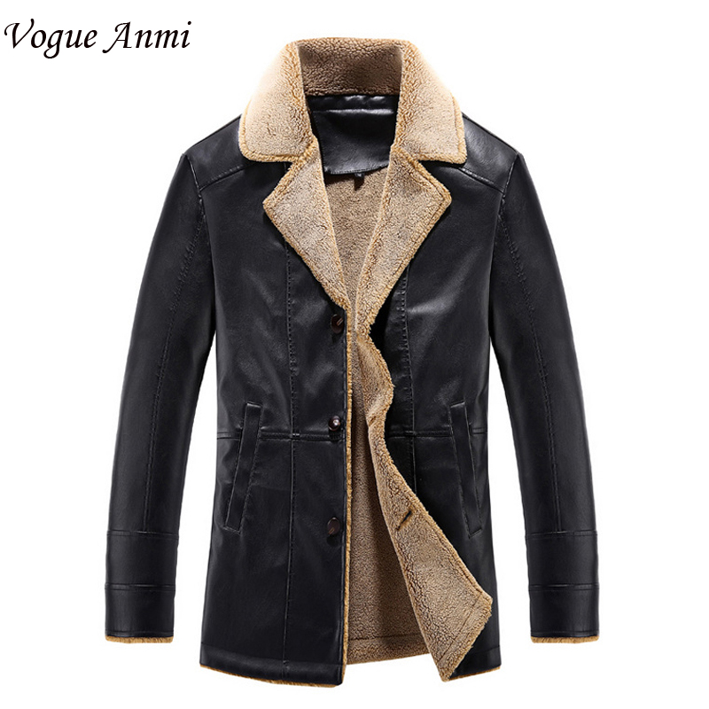 Vogue Anmi.Winter Leather Jacket Men Thickening Warm Windbreak Turn-down Fur Collar mens leather Jackets and Coats Plus Size