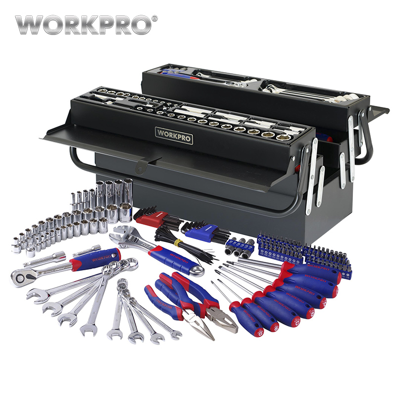 WORKPRO 183PC Repair Tool Set Homeowner's Tool Kit With 5 Compartment Cantilever Screwdriver Ratchet Wrench Socket Plier jetech 15pcs 1 2 dr metric socket wrench set with ratchet extention bar 5 inch kit ferramenta car tool sets lifetime guarantee