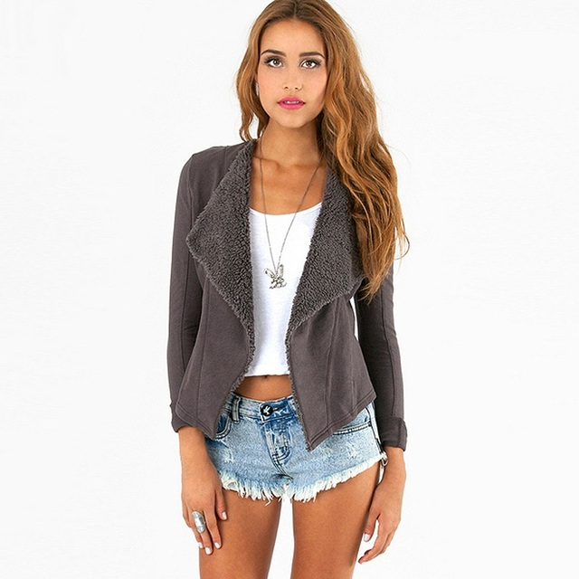 Suede Jacket Women new fashion turn down collar slim casual jackets with fleece lining SC2042