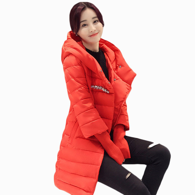 5bcdee900 US $59.17 |2017 WOMEN SUMMER WINTER JACKET SOLID LONG LENGTH COAT COVERED  BUTTON SLIM THICKEN PARKAS COTTON LINER THREE QUARTER ZL208-in Parkas from  ...