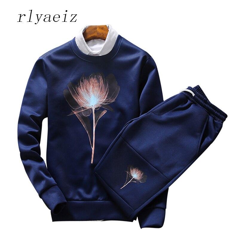 RLYAEIZ Plus Size 4XL Fashion 2 Piece Set Mens 2017 New Autumn Casual O-neck Hoodies + Pants Sporting Suits Tracksuits Hot Sales