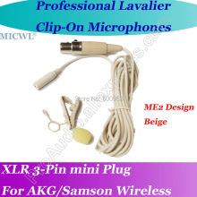MICWL Beige ME2 Microfone Lavalier para Lapel Microphone for AKG Samson Gemini Wireless XLR Mini 3-Pin micwl me2 pro microfone lavalier para lapel microphone for akg samson gemini wireless xlr mini 3 pin