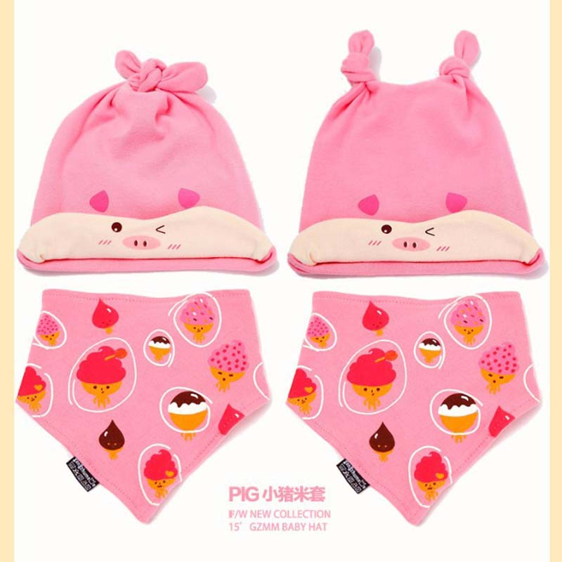 769f37f18a61 2 pcs set Hot Sale Newborn Hats bibs Baby Boy Girls Cap toddler ...