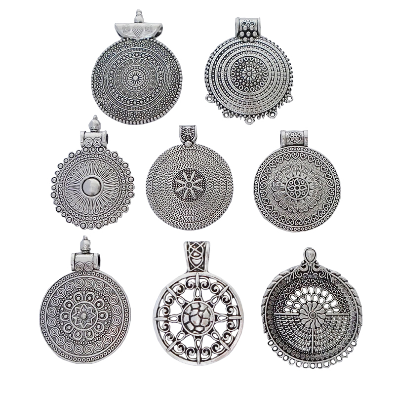 5 x Tibetan Silver Tone Hollow Open Flower Spiral Design Charms Pendants Beads