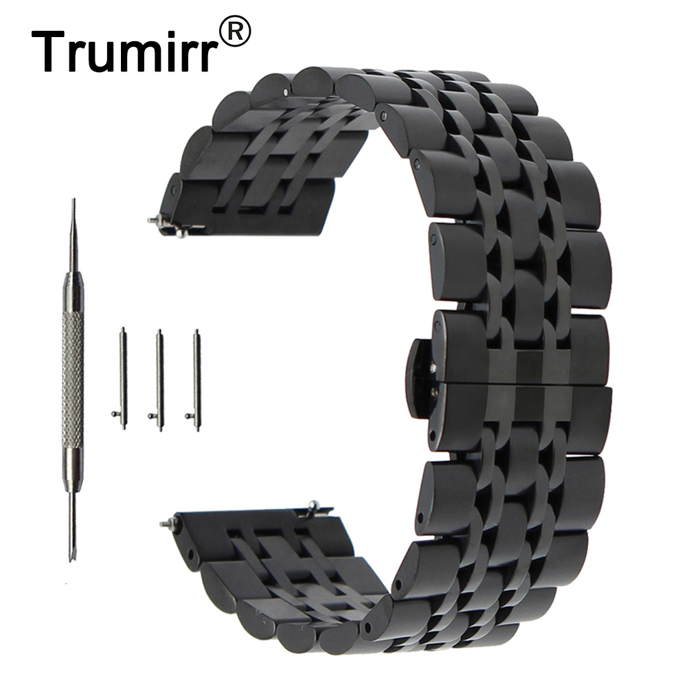 20mm 22mm Stainless Steel Watch Band for Hamilton Butterfly Buckle Strap Quick Release Wrist Belt Bracelet + Spring Bar + Tool survival bracelet hand ring strap weave paracord buckle emergency quick release for outdoors